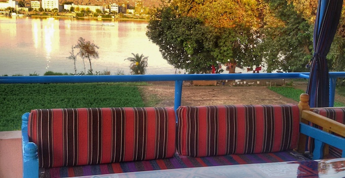 View on the Nile from roof terrace
